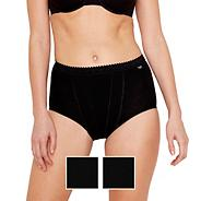 Pack of two black control maxi briefs