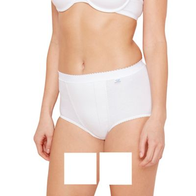 Pack of two white control maxi briefs