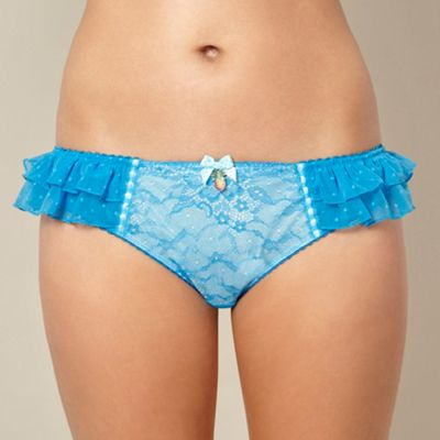Designer bright blue lace hipster briefs