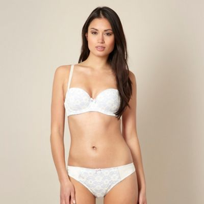 Cream lace overlay balcony bra