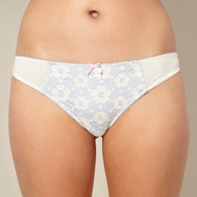 Cream lace overlay thong