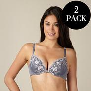Pack of two grey and white embroidered plunge bras
