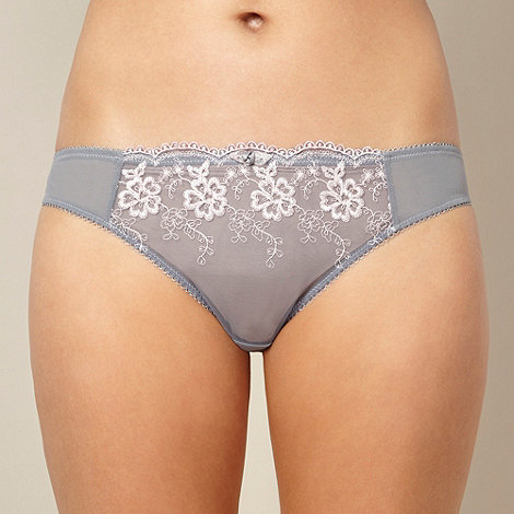 Presence - Pack of two grey and white embroidered hipster briefs