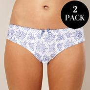 Pack of two blue micro print knickers