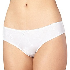 Presence - White embroidered microfibre brazilian briefs