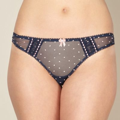 Navy embroidered thong