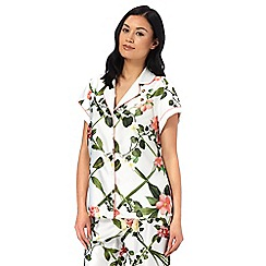 B by Ted Baker - White floral print 'Secret Trellis' short sleeve pyjama top