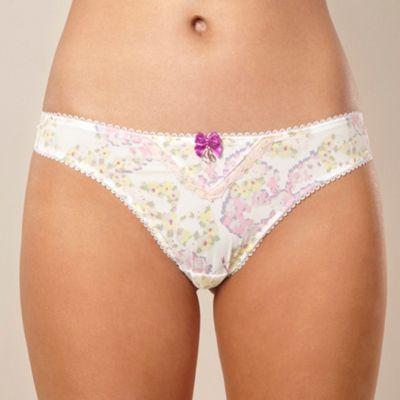 Cream floral thong