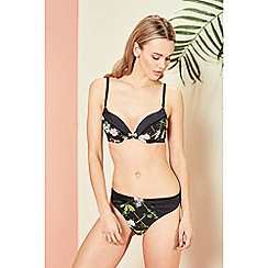 B by Ted Baker - Black floral print 'Secret Trellis' underwired padded plunge bra