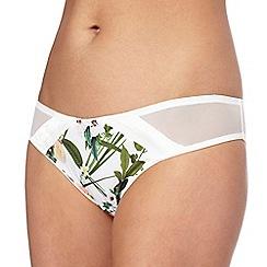 B by Ted Baker - White floral print 'Secret Trellis' bikini knickers