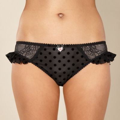 Designer black flocked spot hipster briefs
