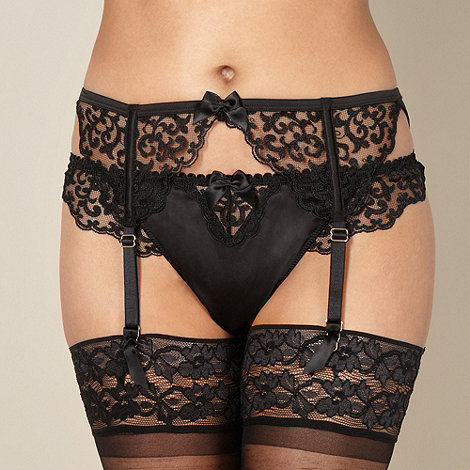 Reger by Janet Reger - Designer black embroidered suspender belt