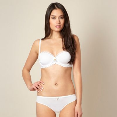 Designer white lace balcony bra