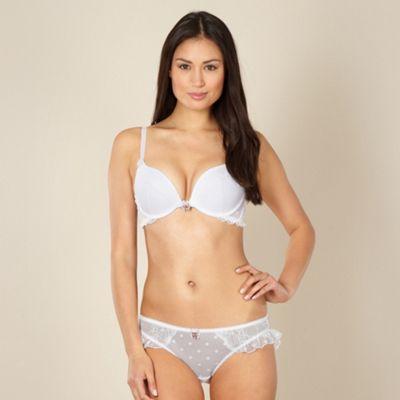 Designer white spotted mesh plunge bra