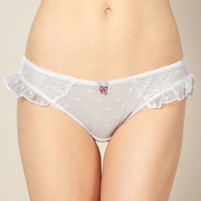 Designer white flocked spot hipster briefs