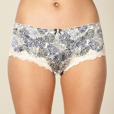 Natural floral satin shorts