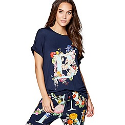 B by Ted Baker - Navy floral print 'Alphabet' short sleeve pyjama top
