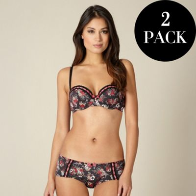Pack of two black and pink floral microfibre balcony bras