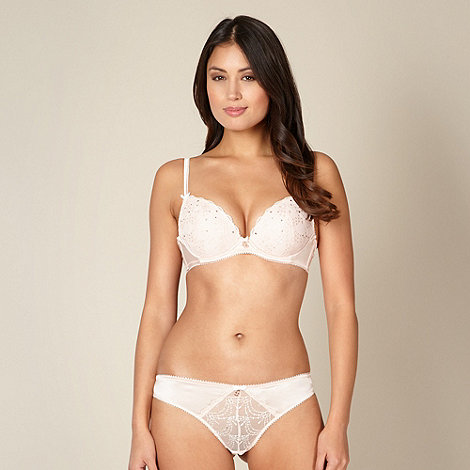 B by Ted Baker - Light pink embroidered mesh plunge bra