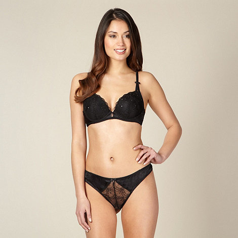 B by Ted Baker - Black embroidered mesh plunge bra