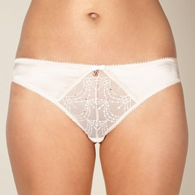 Light pink embroidered mesh thong