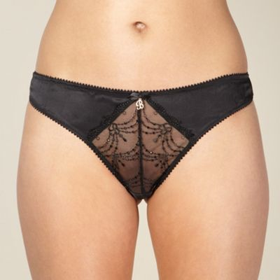 Black embroidered mesh thong
