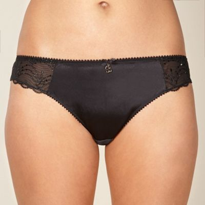 B by Ted Baker Black embroidered mesh brazilian briefs - . -