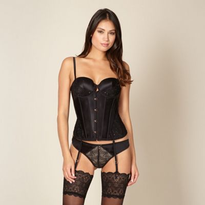 Black embroidered mesh basque