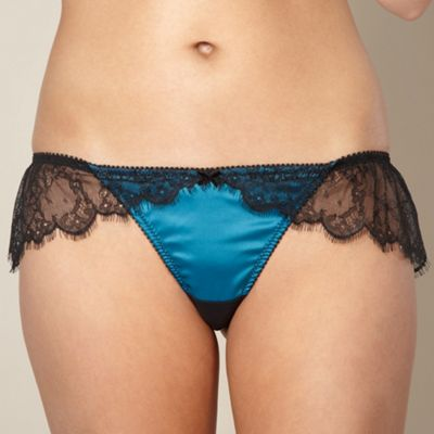 Dark turquoise lace trim thong