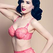 Pink lace and fishnet balconette bra