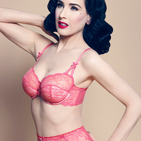 Von Follies by Dita Von Teese - Pink lace and fishnet balconette bra