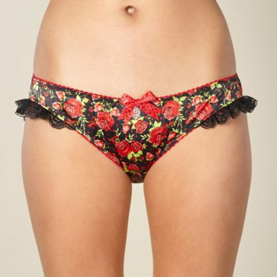 Designer black rose hipster briefs