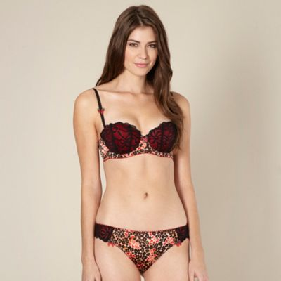 Designer red animal lace cup balcony bra