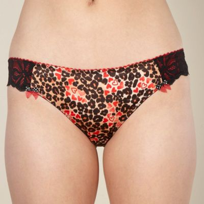 Designer red animal lace back hipster briefs