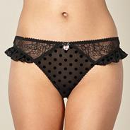 Designer black flocked spot thong