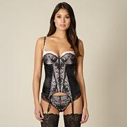 Designer black lace basque