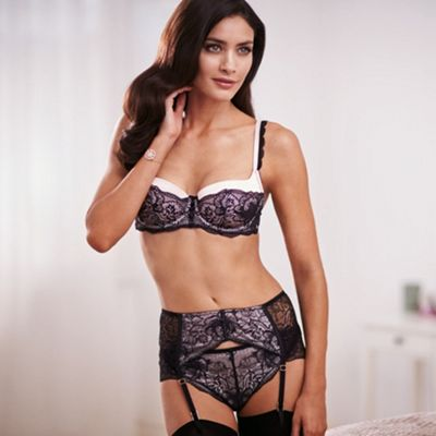 Designer black lace suspender belt