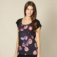 Black rose front jersey pyjama t-shirt
