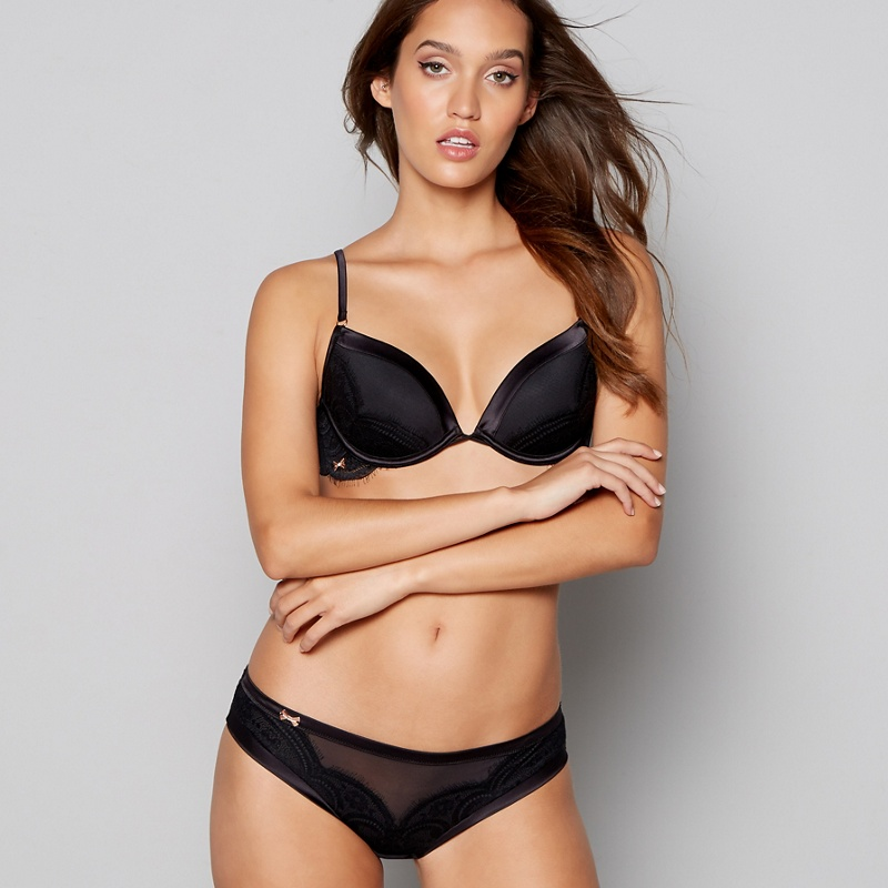 2cabeeaf78 B by Ted Baker - Black Lace Underwired Padded Plunge Bra - £26.00 -  Bullring   Grand Central