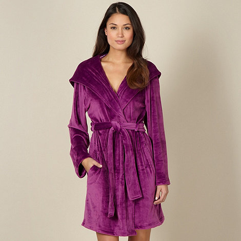 B by Ted Baker - Plum short moleskin dressing gown
