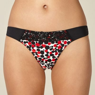 Designer black satin spot lace thong