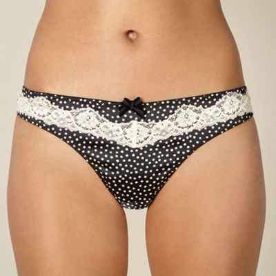 Designer cream spotted satin thong