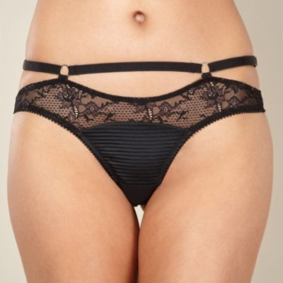 Black lace and satin thong