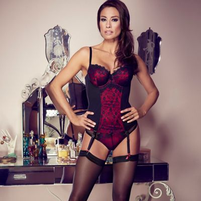 Red lace overlay basque