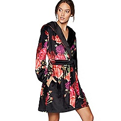 B by Ted Baker - Black floral print 'Juxtapose Rose' dressing gown