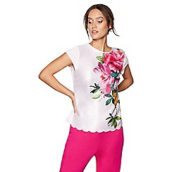 B by Ted Baker - Pink floral print satin 'Citrus Bloom' short sleeve pyjama top