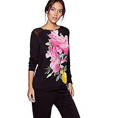B by Ted Baker - Black floral print 'Citrus Bloom' long sleeve pyjama top