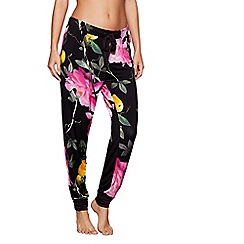 B by Ted Baker - Black floral print 'Citrus Bloom' loungewear bottoms