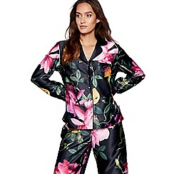 B by Ted Baker - Black floral print 'Citrus Bloom' long sleeves nightshirt