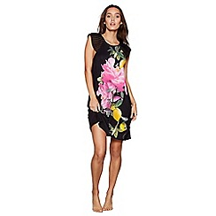 B by Ted Baker - Black floral print 'Citrus Bloom' short sleeve loungewear dress